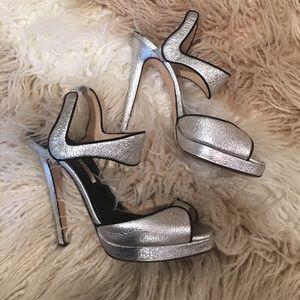 Oscar de la renta silver heel sandals 38.5